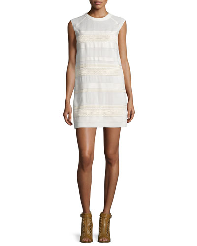 Cap-Sleeve Lace Dress W/Leather Trim, Off White