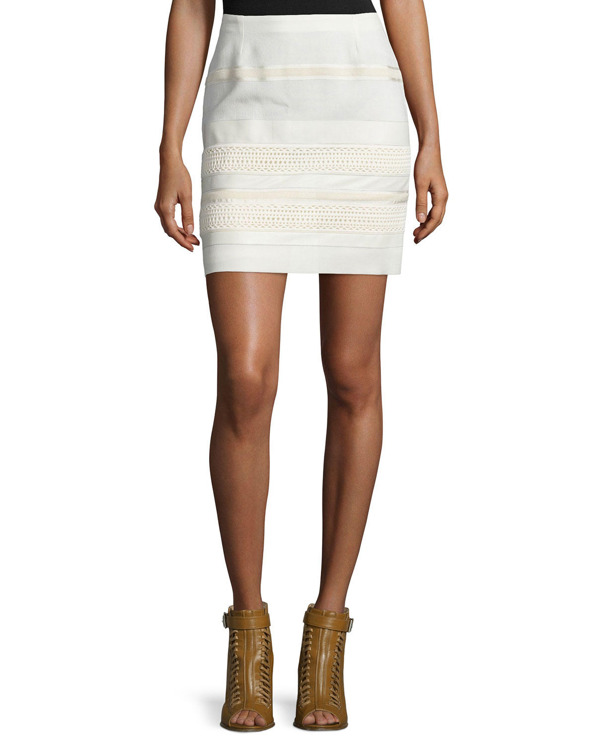Lace Skirt W/Leather Trim, Off White