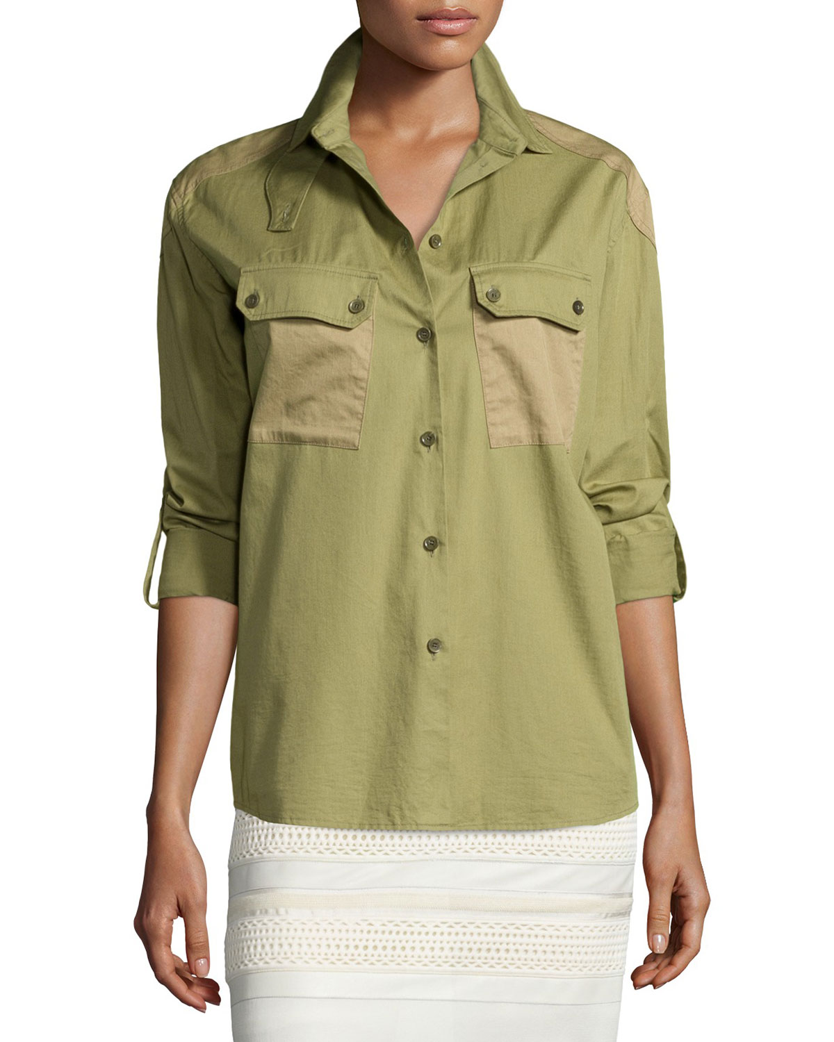 Two-Tone Patch-Pocket Camp Shirt, Olive