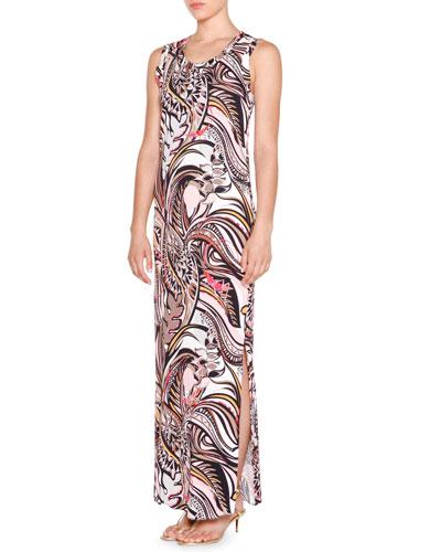 Sleeveless Column Maxi Dress, Beige
