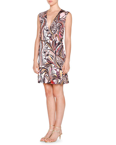 Sleeveless Faux-Wrap Printed Dress, Beige