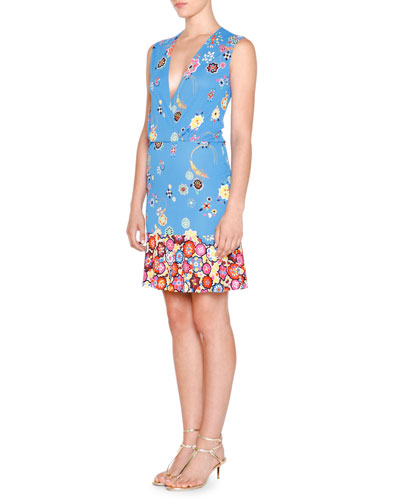 Sleeveless Surplice-Neck Floral-Print Dress, Blu Nilo