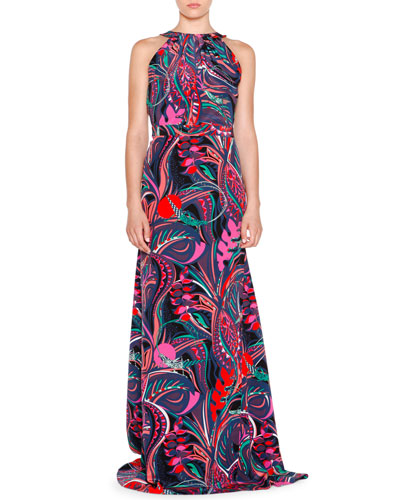 Sleeveless Multi-Print Maxi Dress, Nero/Smeraldo