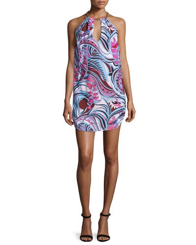 Sleeveless Halter-Neck Printed Dress, Fuchsia/Celeste