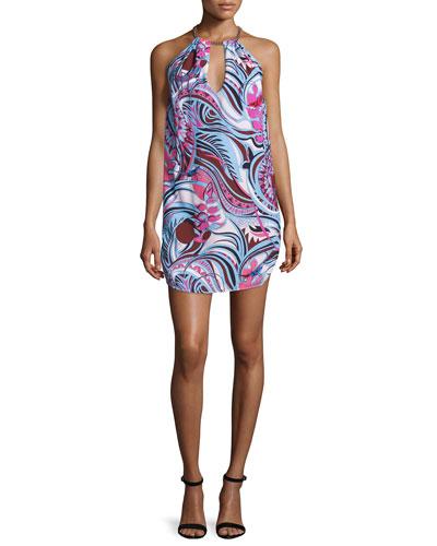 Sleeveless Halter-Neck Printed Dress, Fuchsia/Celeste