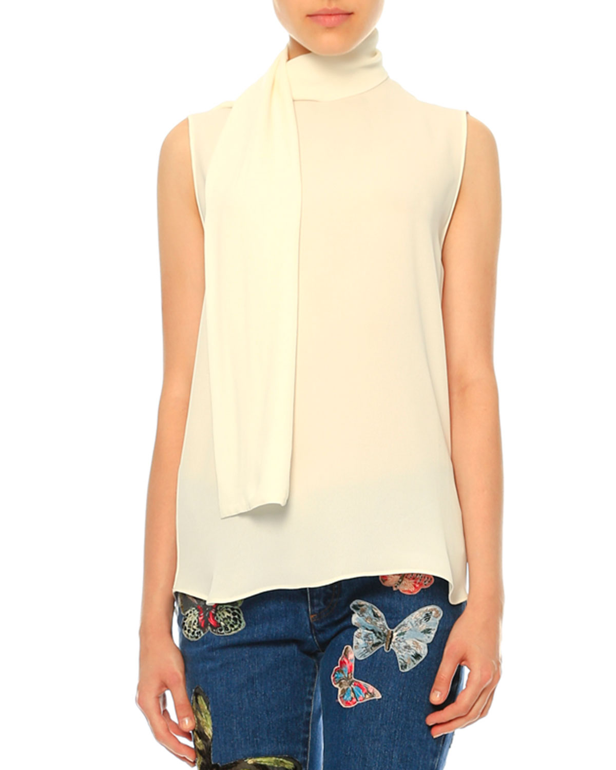 Sleeveless Tie-Neck Blouse, Ivory