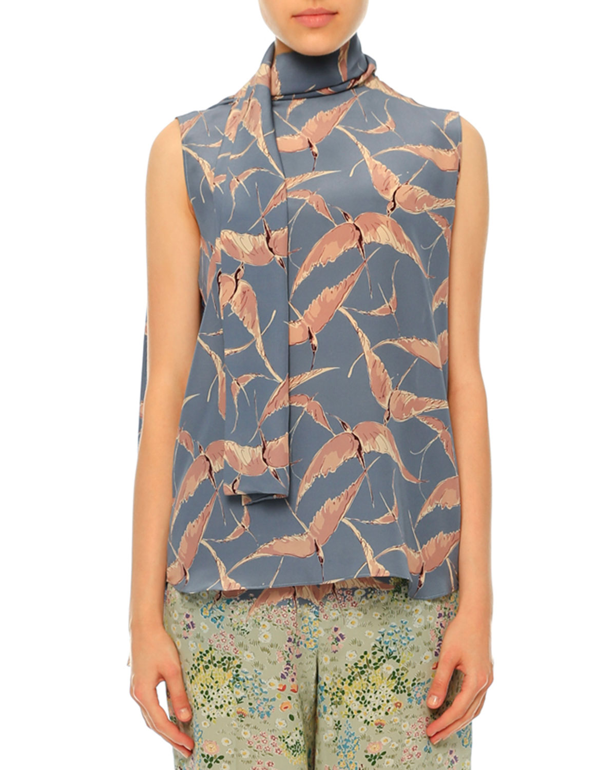 Sleeveless Bird-Print Tie-Neck Blouse, Multi Colors