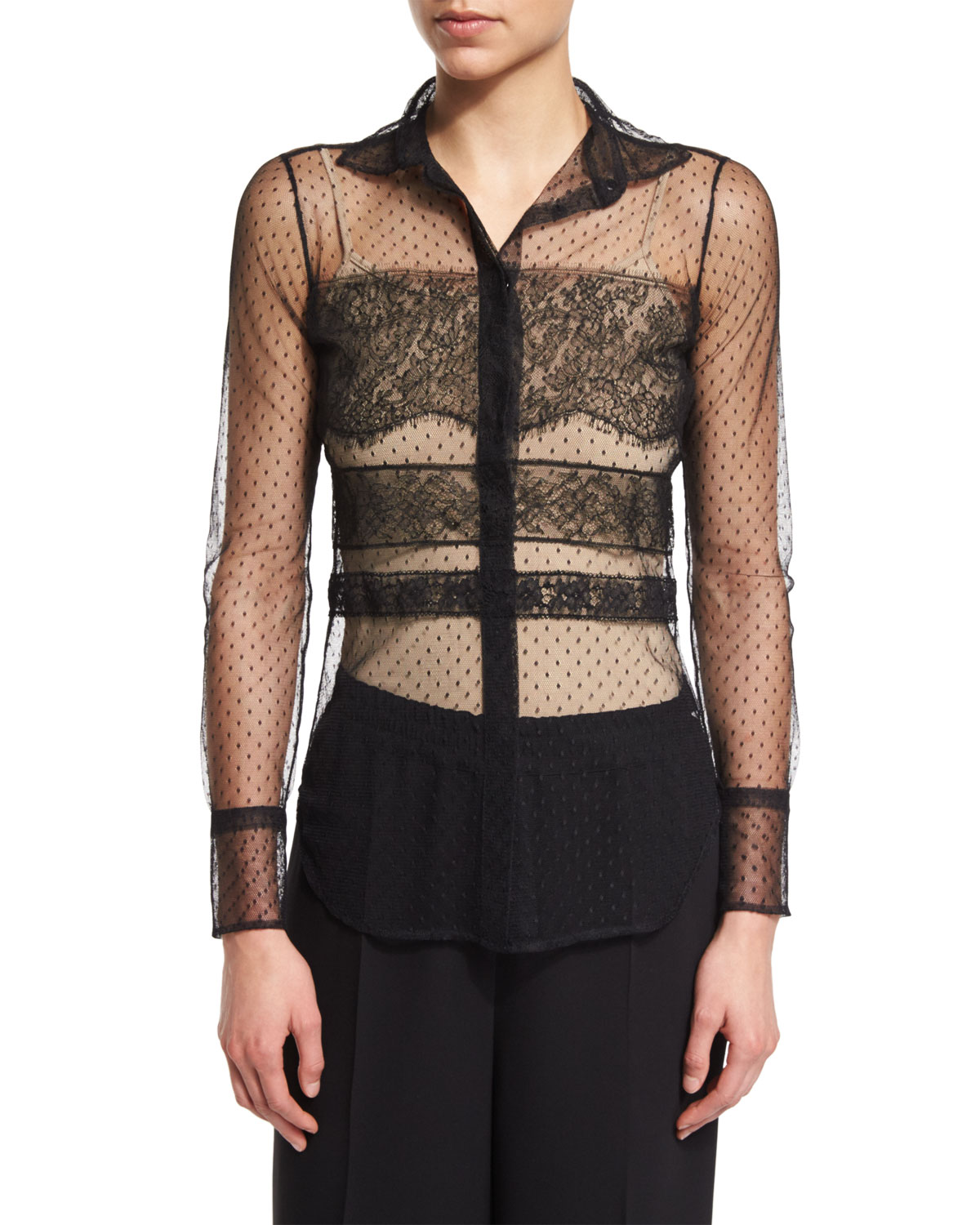Dot-Print & Banded Lace Blouse, Nero
