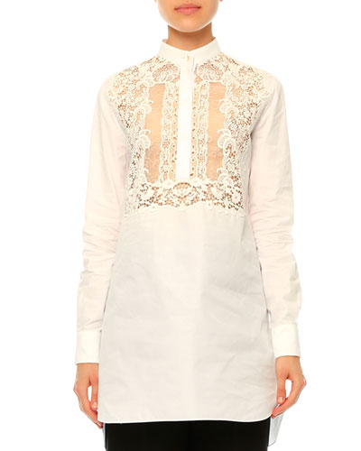 Long-Sleeve Lace-Bib Blouse, White
