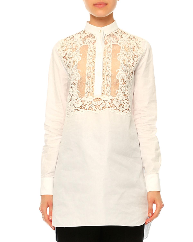 Long-Sleeve Lace-Bib Blouse, White