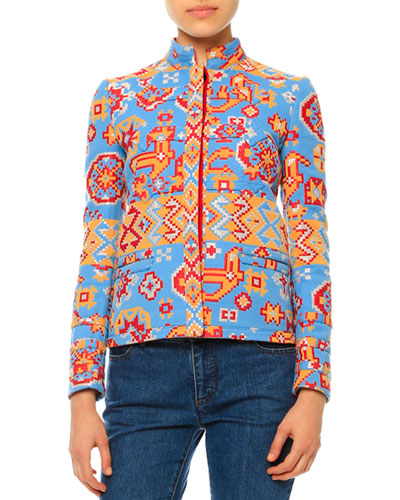 Long-Sleeve Tribal-Print Jacket, Multi Colors