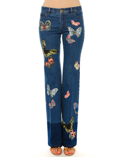 Mid-Rise Jeans W/Butterfly Embroidery, Blue