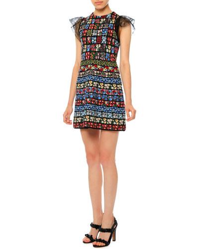 Jewel-Neck Flutter-Sleeve Mini Dress, Multi Colors