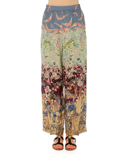 Landscape-Print Pajama-Style Pants, Multi Colors