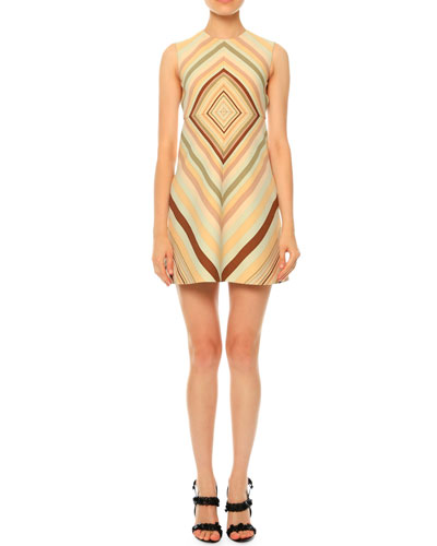Sleeveless Diamond-Print A-Line Dress, Green Multi