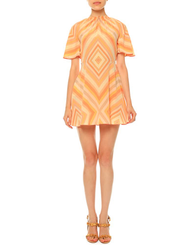 Mitered-Diamond Print Mini Dress, Coral