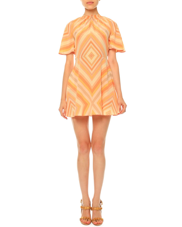 Mitered-Diamond Print Mini Dress, Coral