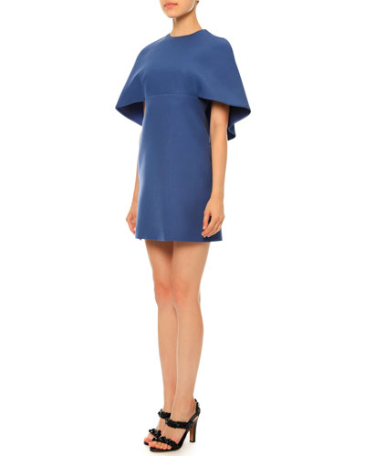 Half-Sleeve Capelet Dress, Slate Blue