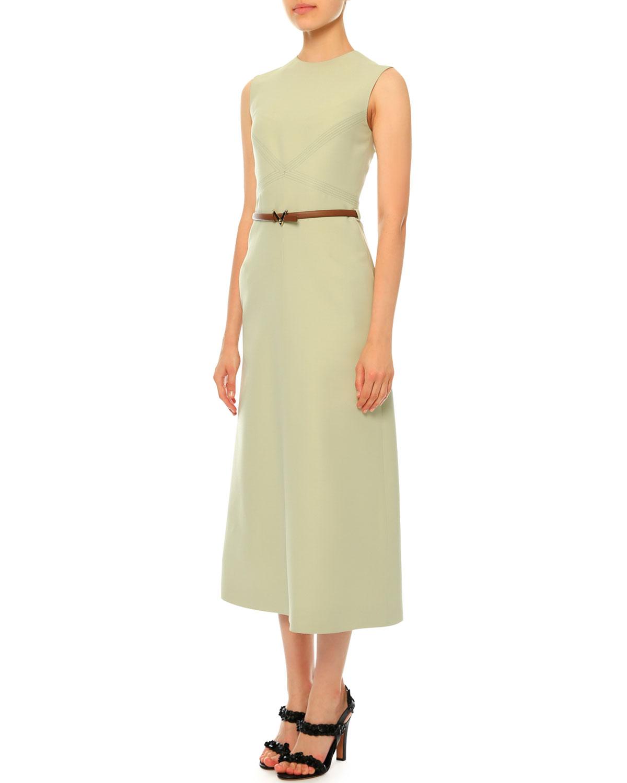 Sleeveless Jewel-Neck Belted Midi Dress, Light Green