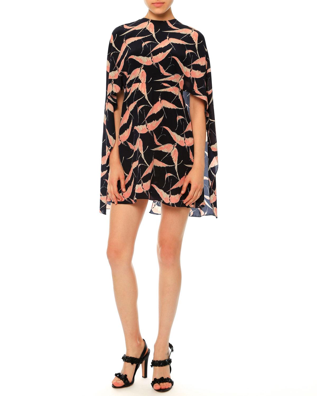 Jewel-Neck Bird-Print Capelet Dress, Navy