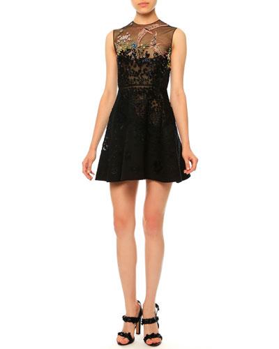 Sleeveless Embellished Cocktail Dress, Nero