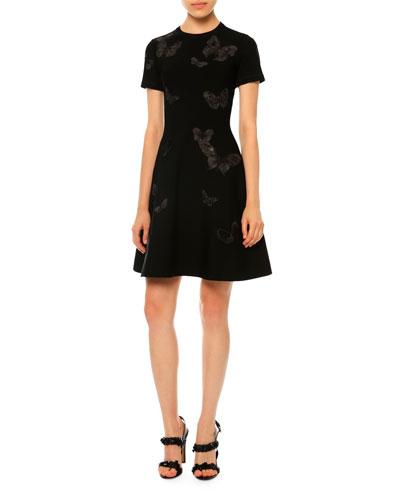 Short-Sleeve Butterfly-Applique Dress, Black