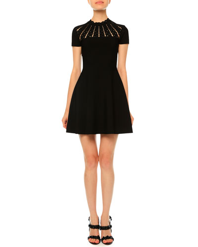 Sunburst Fit-&-Flare Dress, Black