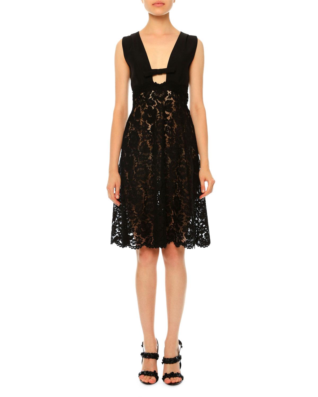 Sleeveless Plunging-Neck Lace Dress, Black