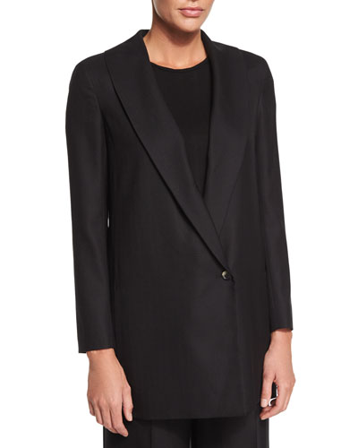 Easy Textured One-Button Jacket, Black