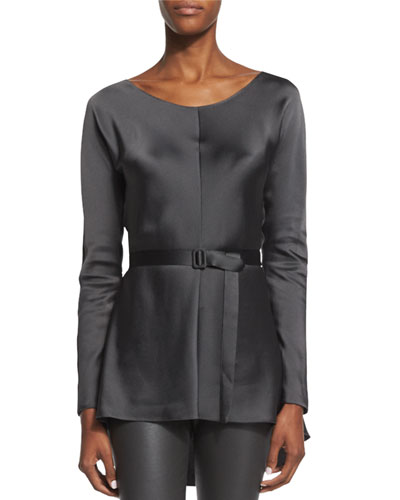 Isa Long-Sleeve Belted Top, Pewter