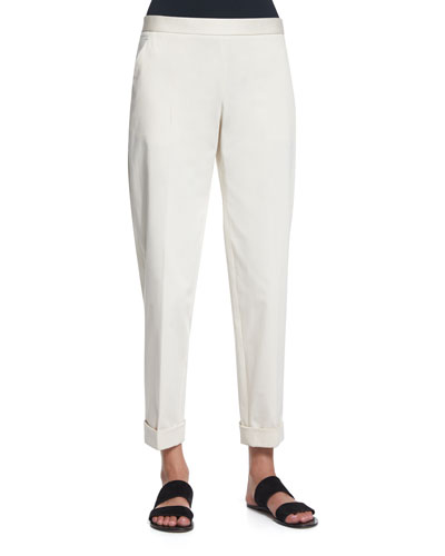 Straight-Leg Cropped Pants, Ivory Cream