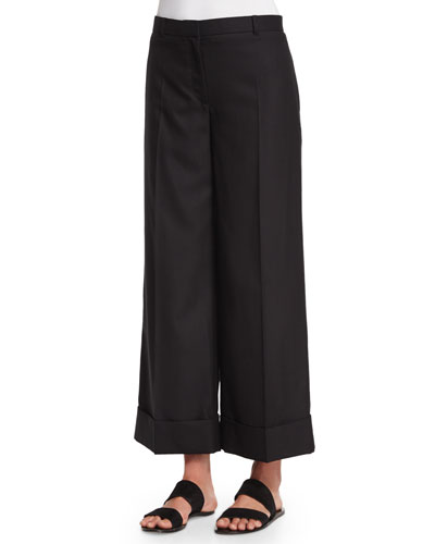 Cuffed Wide Leg Pants | Neiman Marcus