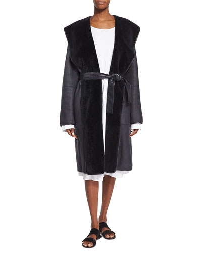Hooded Lamb Shearling Fur Robe Coat, Dark Navy