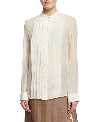 Soraya Pleated-Front Shirt, Ivory Cream