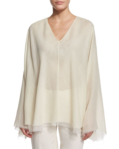 Maram Belted Trapeze Top, Ivory Cream