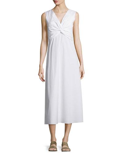 Sleeveless Twist-Front Midi Dress, White