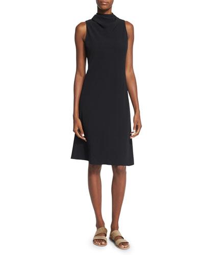 Darla Sleeveless Tie-Neck A-Line Dress, Black