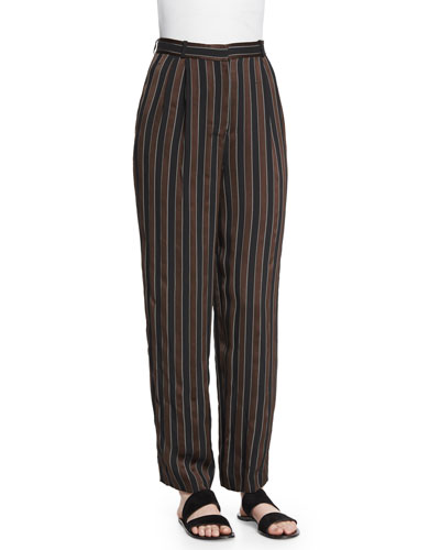 Sala Pleated-Front Striped Pants, Cigar/Black Stripe