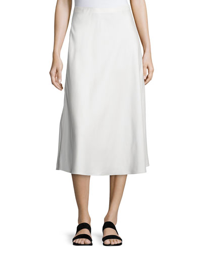 Zedela A-Line Midi Skirt, Off White