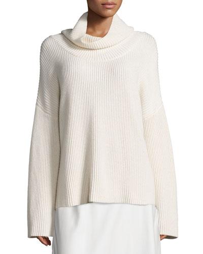 Kaima Ribbed Long-Sleeve Sweater, Ivory