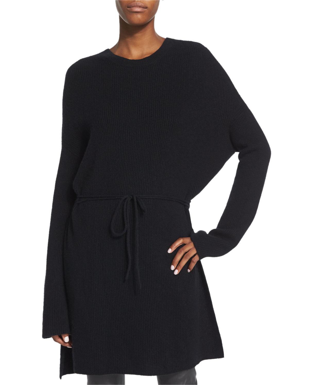 Cashmere Tunic Sweater, Black