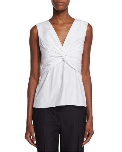 Tiani Sleeveless Twist-Front Top, White