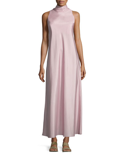 Abiana Sleeve Neck-Tie Silk Dress, Cinder Rose