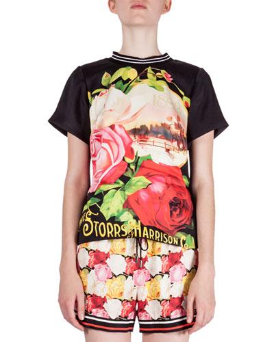 Rosa-Print T-Shirt Top, Black Rosa