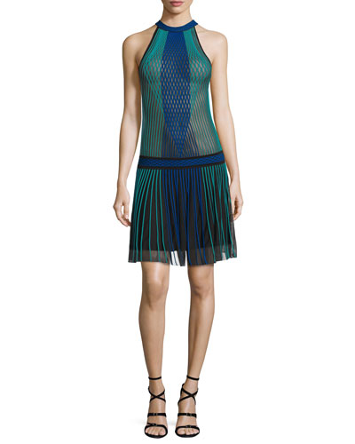 Halter-Neck Pleated-Skirt Dress, Black/Blue/Green