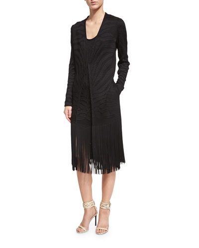 Long-Sleeve Jacket W/Fringe Trim, Black
