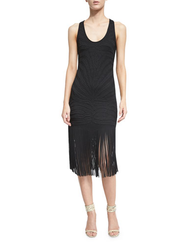 Sleeveless Sheath Dress W/Fringe Trim, Black