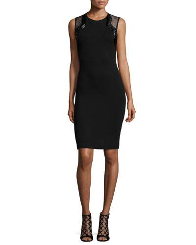 Sleeveless Lace-Inset Cocktail Sheath Dress, Black