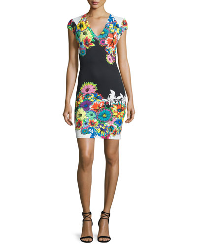 Cap-Sleeve V-Neck Floral-Print Dress, Black/White/Blue