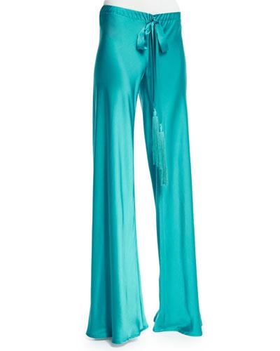 Wide-Leg Drawstring-Waist Pajama Pants, Turquoise